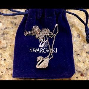 Swarovski Silver-Tone Crystal Iconic Swan Necklace